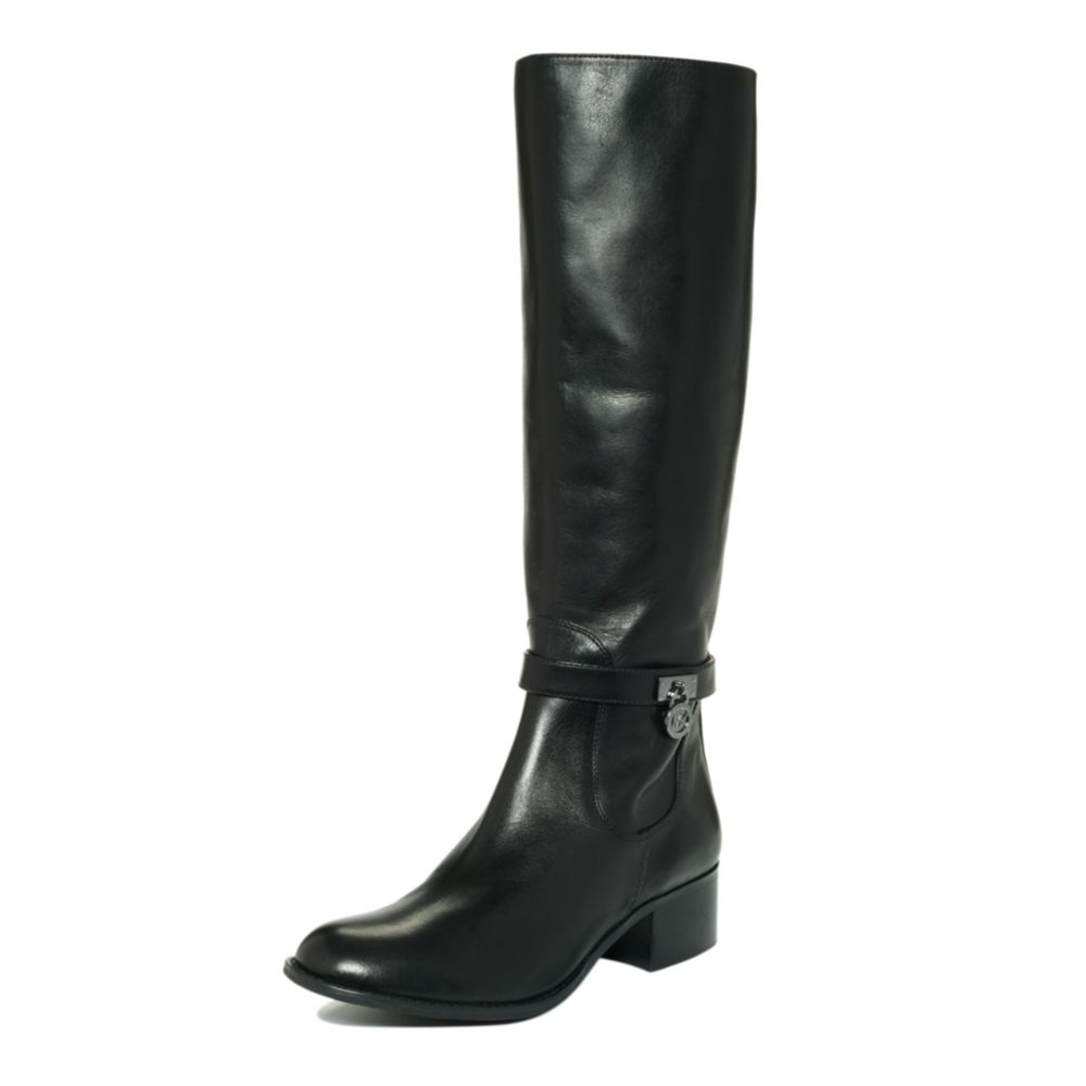 michael kors hamilton boots in black black leather