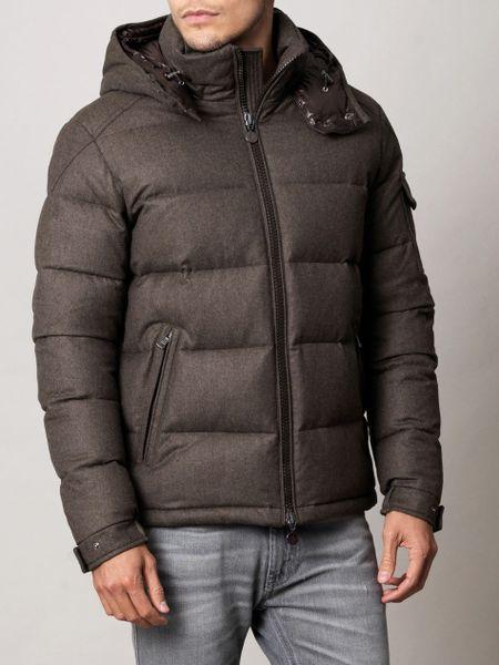 Moncler Montgenevre Flannel Coat in Brown for Men | Lyst