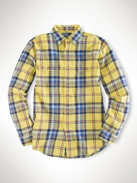 Polo ralph lauren customfit plaid workshirt in blue for for Royal blue plaid shirt mens