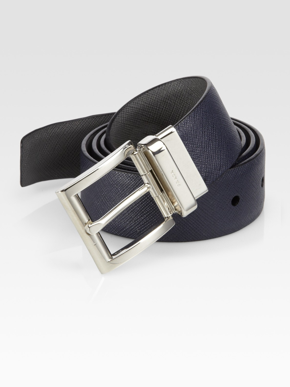 Prada Saffiano Reversible Leather Belt in Blue for Men | Lyst