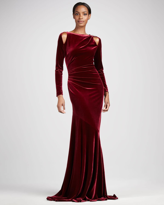 Teri Jon Stretch Velvet Gown In Merlot Red Lyst