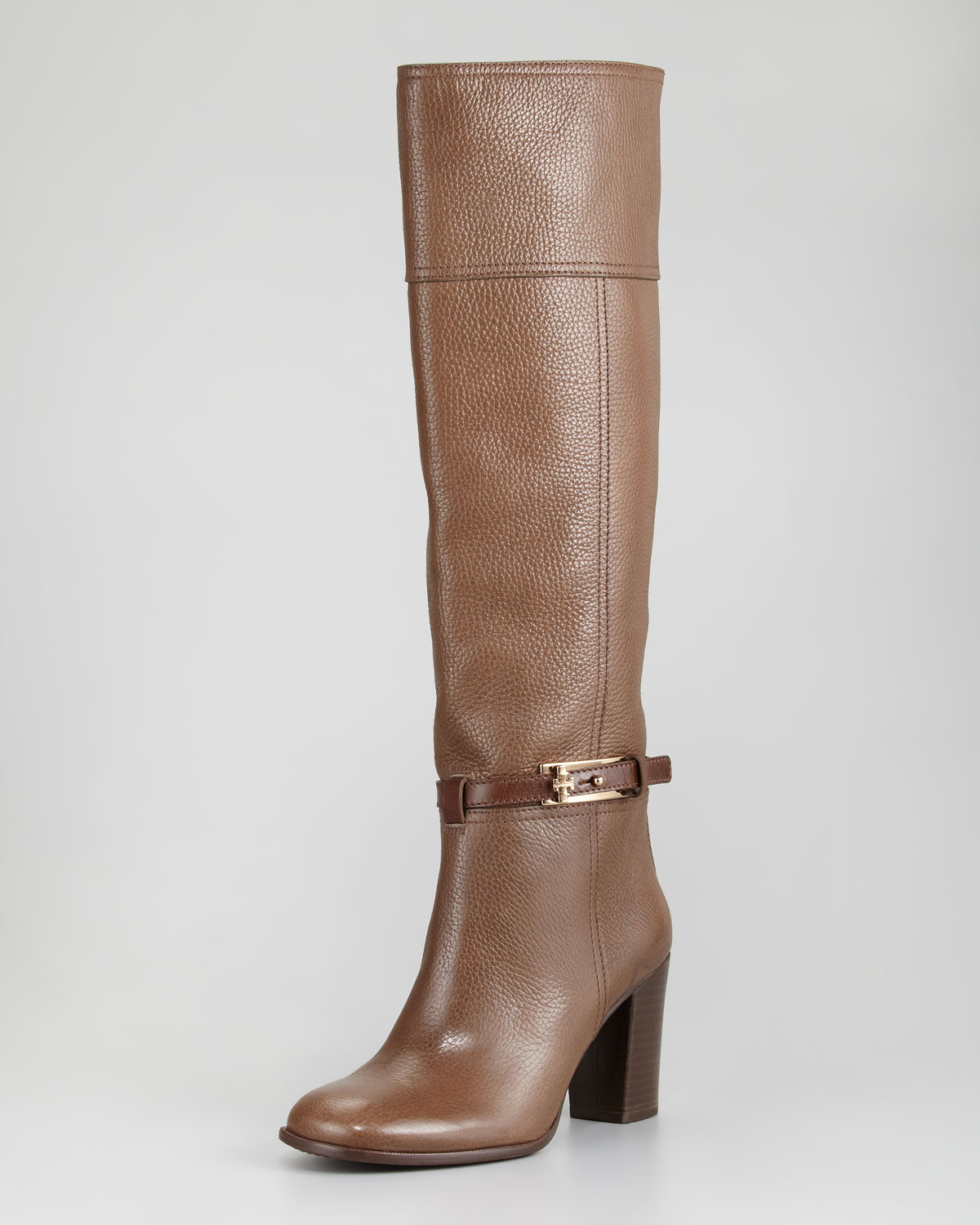 9392856c171f Lyst - Tory Burch Jenna Tumbled Leather Knee Boot in Brown