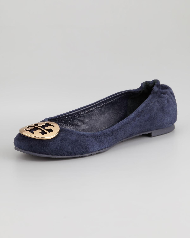 0b1ecfa2748 Lyst - Tory Burch Reva Suede Logo Ballerina Flat in Blue