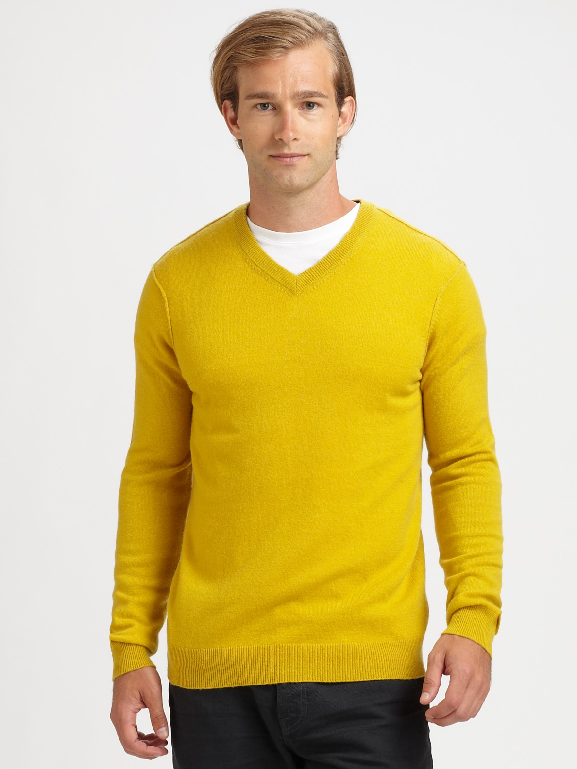 Mens V Neck Sweaters Spend your days relaxing with men's V-neck sweaters. Perfect for dressing up or staying around the house, a sweater will complement the shirts and pants you already have while keeping your clothes in fashion.