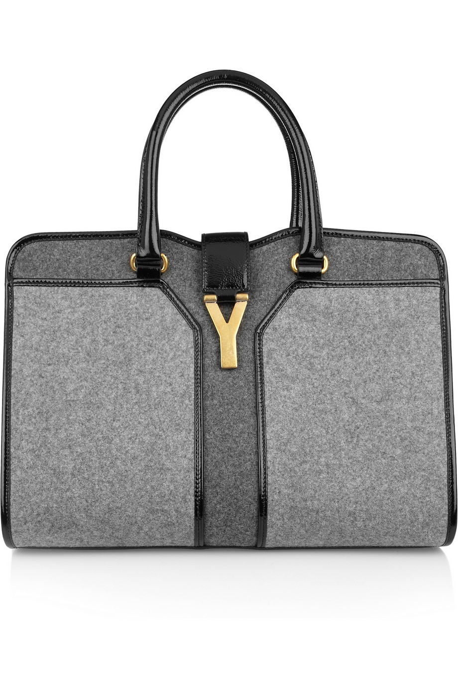Lyst - Saint Laurent Cabas Chyc Medium Woolfelt and Patent Leather ... a28d8a1f99