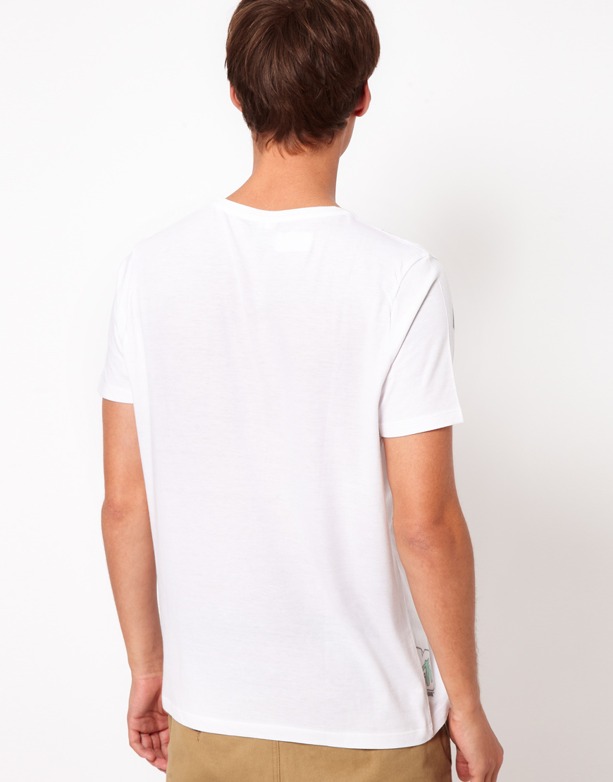 Asos t shirt with mtv sublimation print in white for men for Asos design free t shirt