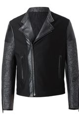 Balenciaga Leather and Flecked Tweed Motorcycle Jacket