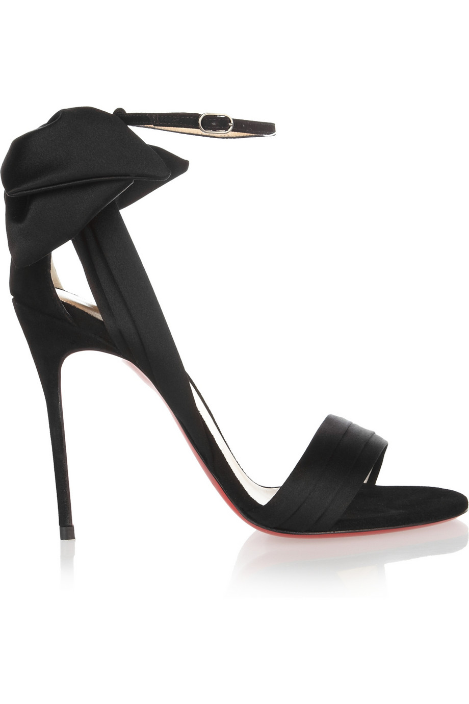 on sale ed4ee 9e69c Christian Louboutin Black Vampanodo Satin and Suede Sandals