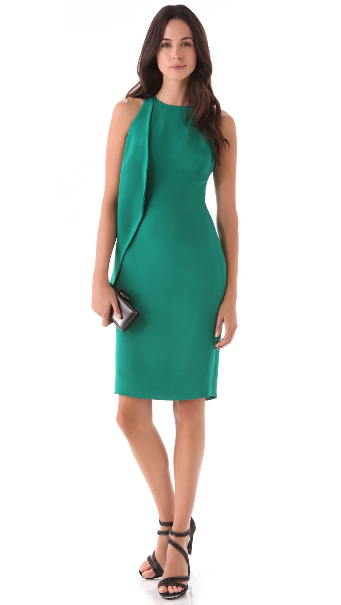 Cushnie Et Ochs Ruffle Sheath Dress In Emerald Green Lyst