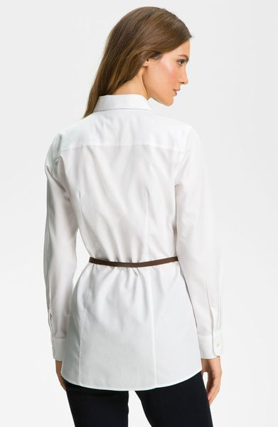 Foxcroft Belted Tunic Shirt In White Lyst