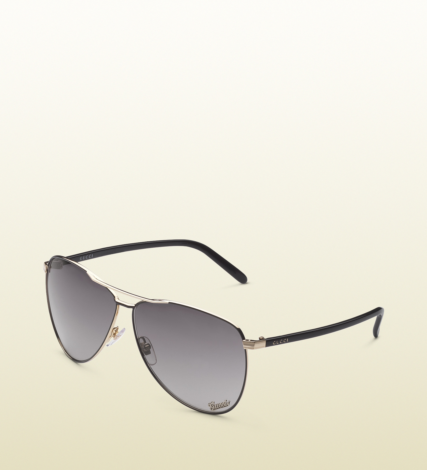 Gucci Sunglasses With Logo On Lens  gucci aviator sunglasses with gucci signature pad on lens and