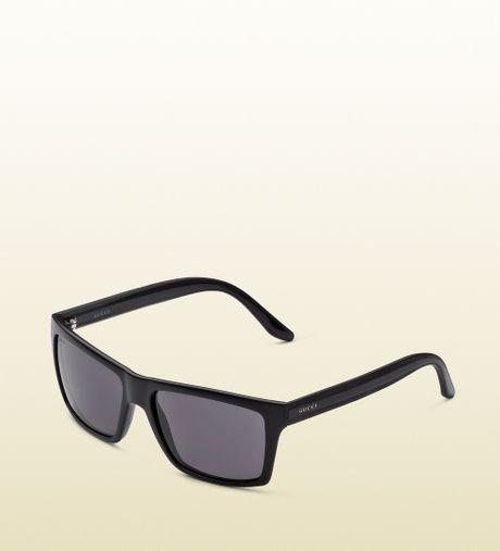 Gold Frame Rectangular Sunglasses : Gucci Medium Rectangle Frame Sunglasses in Black for Men ...