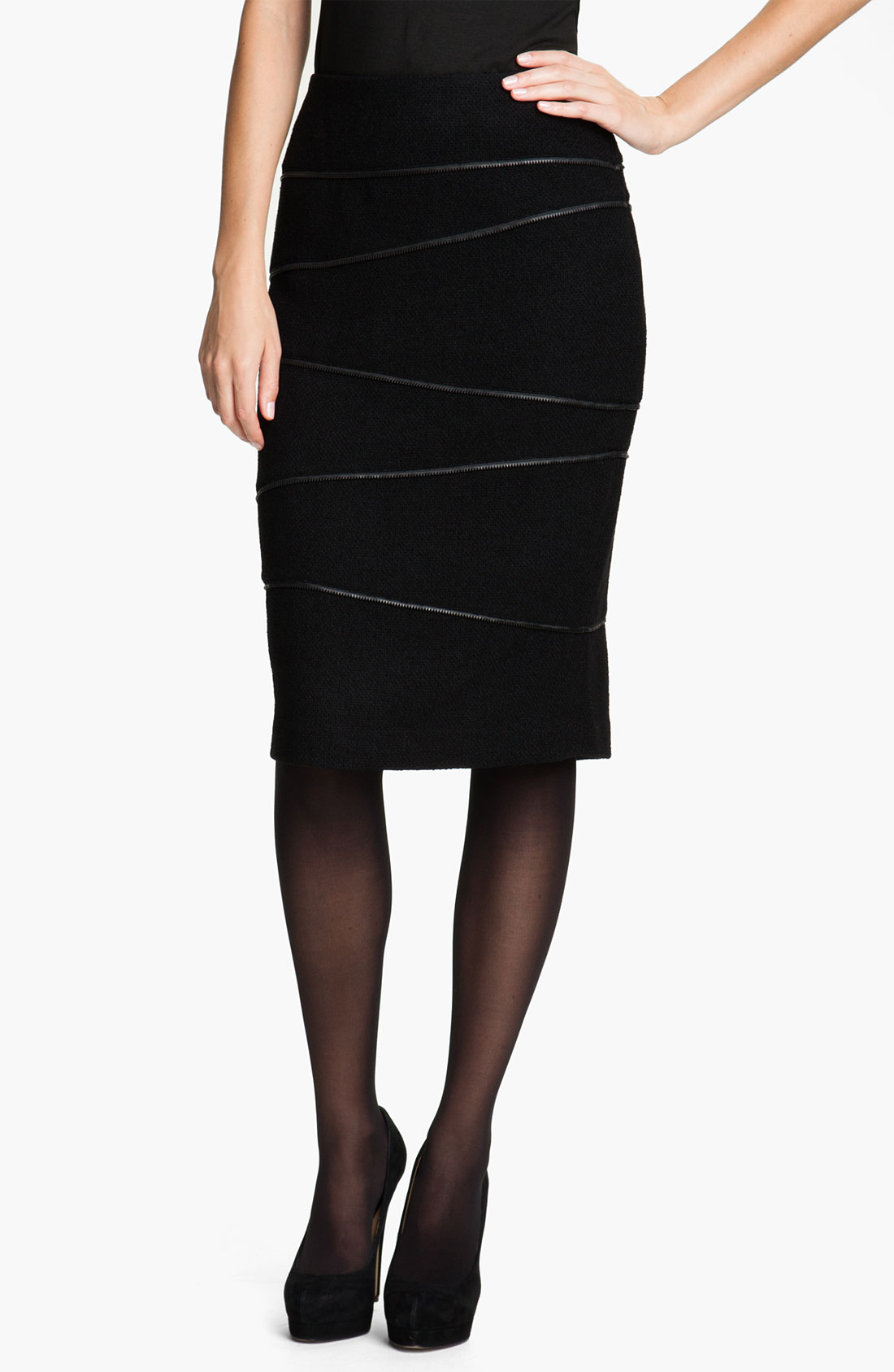 lafayette 148 new york connie zipper pencil skirt in black