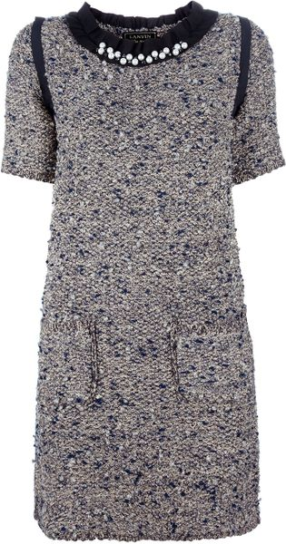 Lanvin Embellished Dress in Gray (blue)