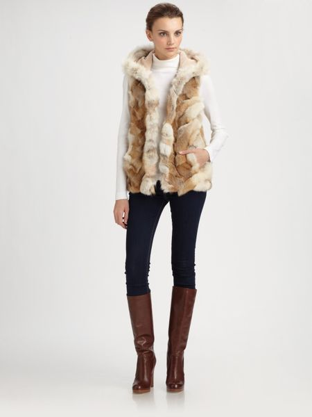 Michael Kors Patchwork Coyote Fur Hooded Vest in Brown (natural)