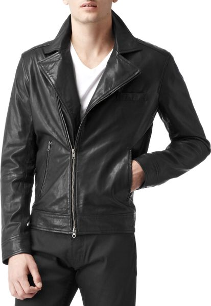 Reiss Brando Leather Biker Jacket In Black For Men Lyst