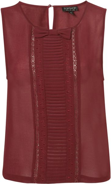 Topshop Pleat and Bow Shell Top in Red (burgundy)