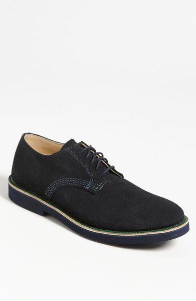 walk derby buck shoe in black for navy suede