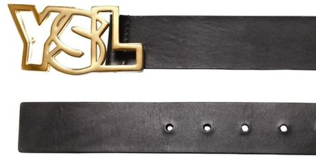Saint Laurent 35cm Brushed Leather Belt in Black for Men