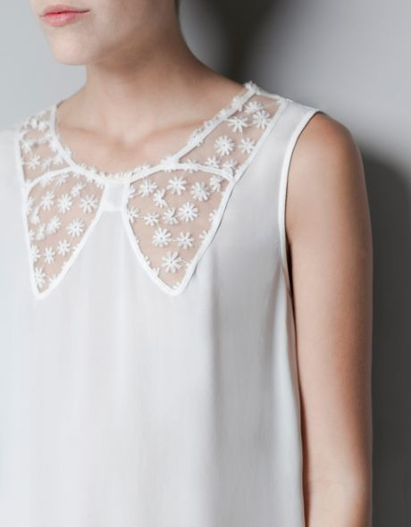 Zara Lace Blouse With Bow Neckline 33