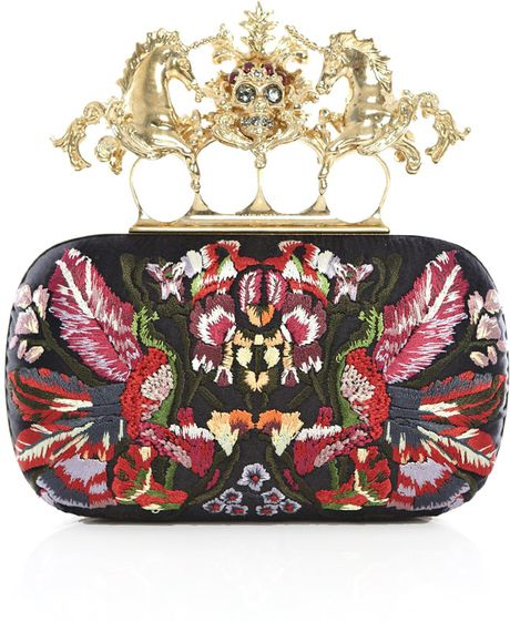 Alexander Mcqueen Unicorn Knuckleduster Embroidered Clutch in Black (gold)