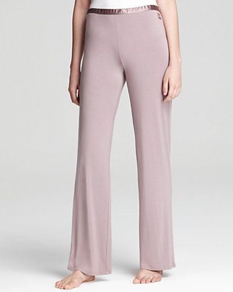 Calvin Klein  PJ Pants with Satin Trim in Purple (muted mauve) - Lyst
