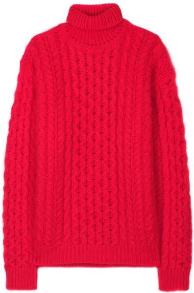 Christopher Kane Cableknit Turtleneck Sweater in Red