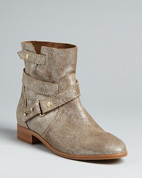cynthia vincent engineer boots west in gold taupe suede