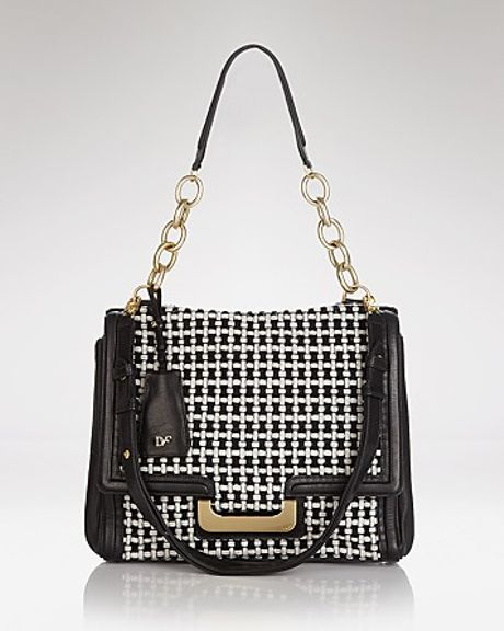 Diane Von Furstenberg Shoulder Bag New Harper Charlotte Check in Black (black white)