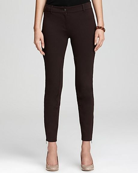 Eileen Fisher Slim Ankle Riding Pants In Black Chocolate