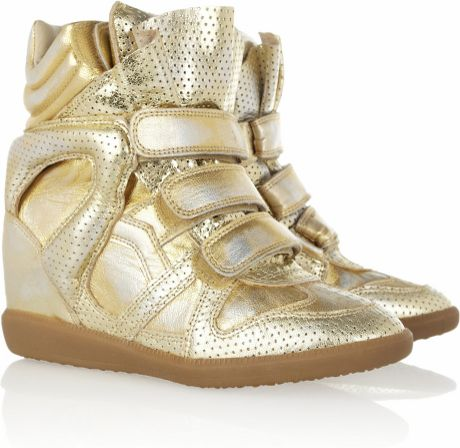 Isabel Marant Bird Metallic Leather Sneakers in Gold