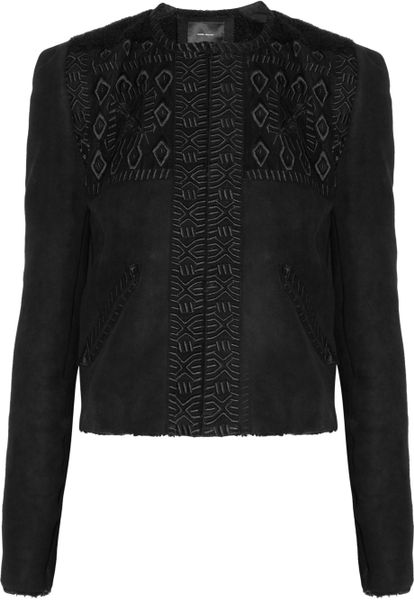 Isabel Marant Embroidered Shearling Jacket in Black