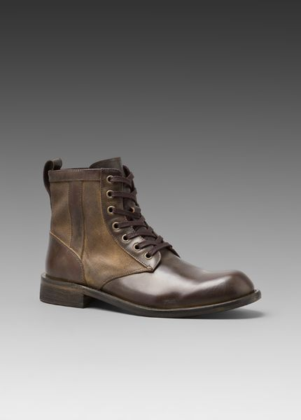 varvatos leather and canvas boots in brown for