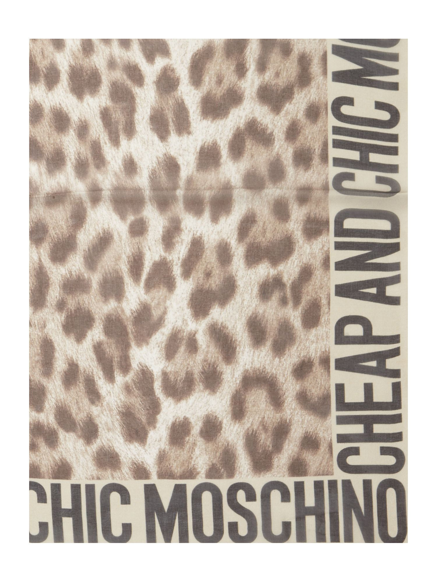 Lyst - Boutique Moschino Leopard and Logo Edge Print Silk ...