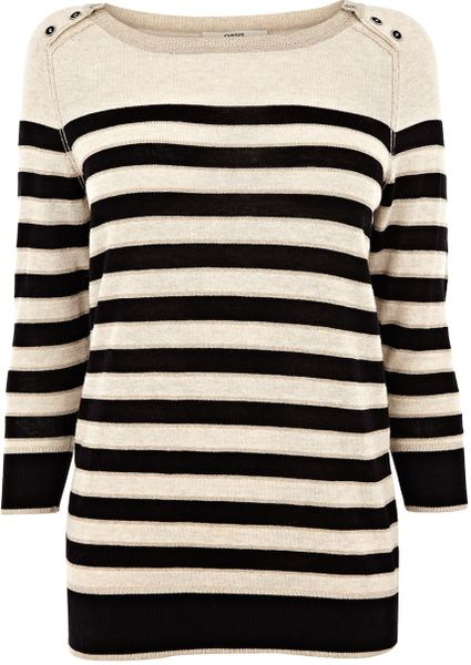 Oasis Breton Stripe Military Jumper in Black (multi-coloured) - Lyst