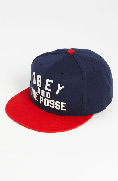 obey and the posse snapback baseball cap in blue for