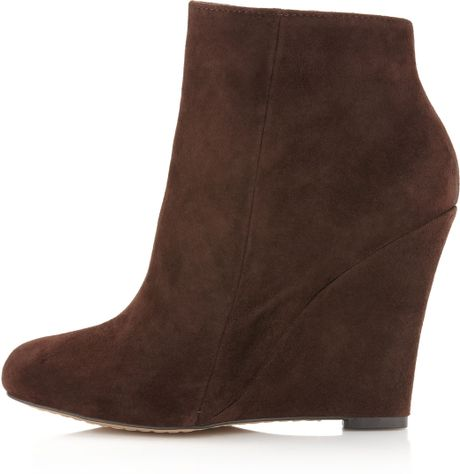 sam edelman wilma wedge ankle boots in brown brown