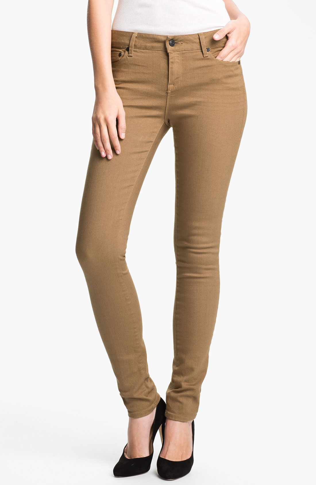 Vince Colored Stretch Skinny Jeans in Brown | Lyst