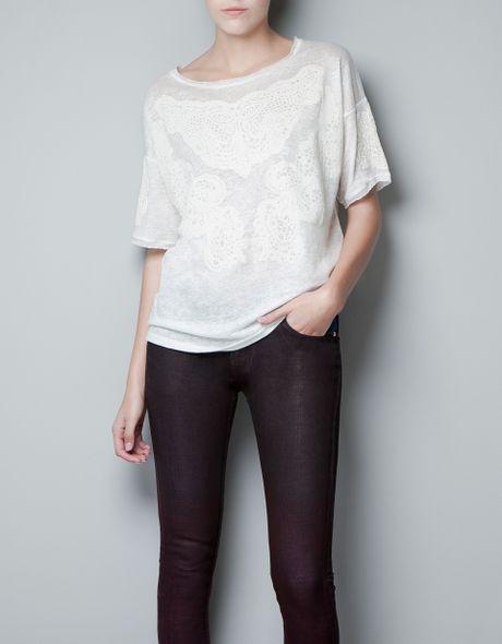Zara embroidered linen t shirt in beige ecru lyst