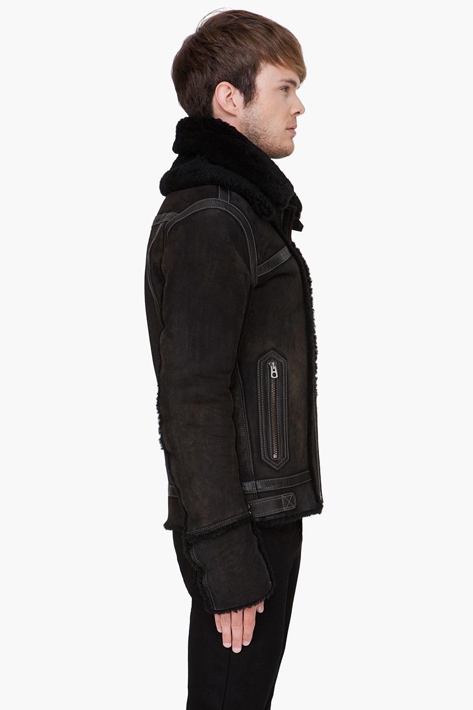 Diesel Black Shearling Lencang Jacket in Black for Men | Lyst