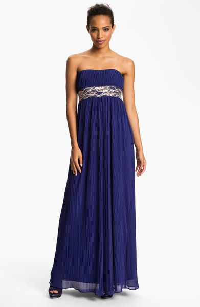 Js Boutique Embellished Waist Plissé Gown in Blue (royal)