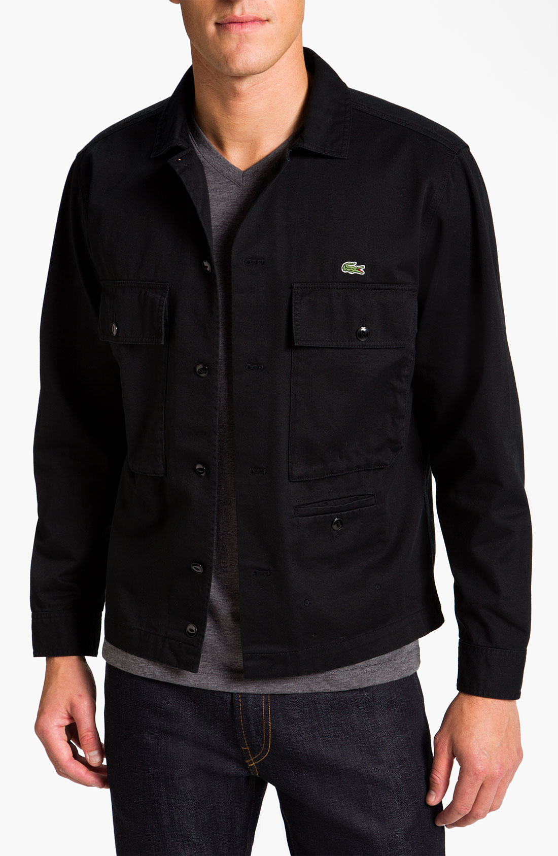Lacoste Twill Cotton Shirt Jacket in Black for Men | Lyst