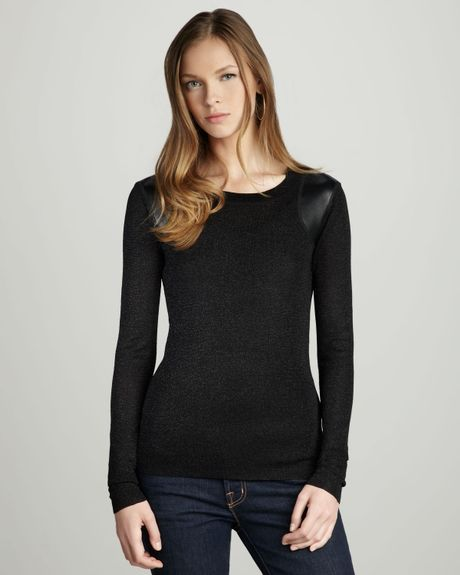 Parker Leather Patch Top in Black