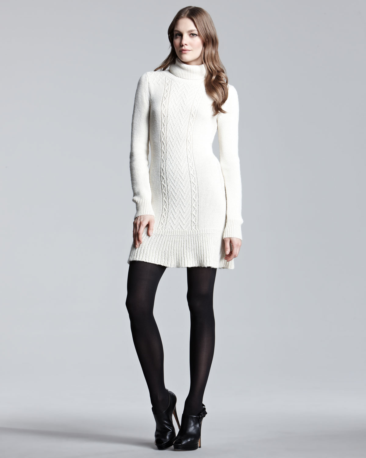 Knitting Pattern Turtleneck Dress : Theory Knit Turtleneck Dress in White (ivory) Lyst