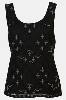 Topshop Cross Embellished Lace Tank - Lyst