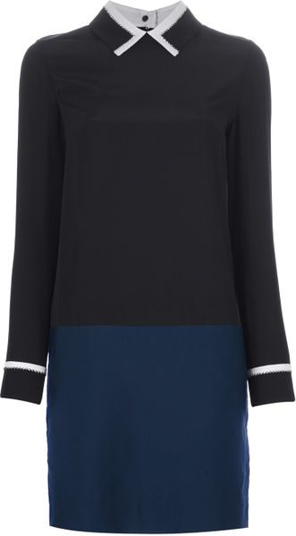 Victoria Beckham Studded Collar Dress in Blue (black) - Lyst