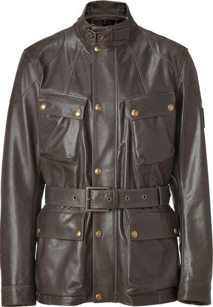 Belstaff Peat Leather Preston Luxe Trialmaster Jacket in Brown for Men
