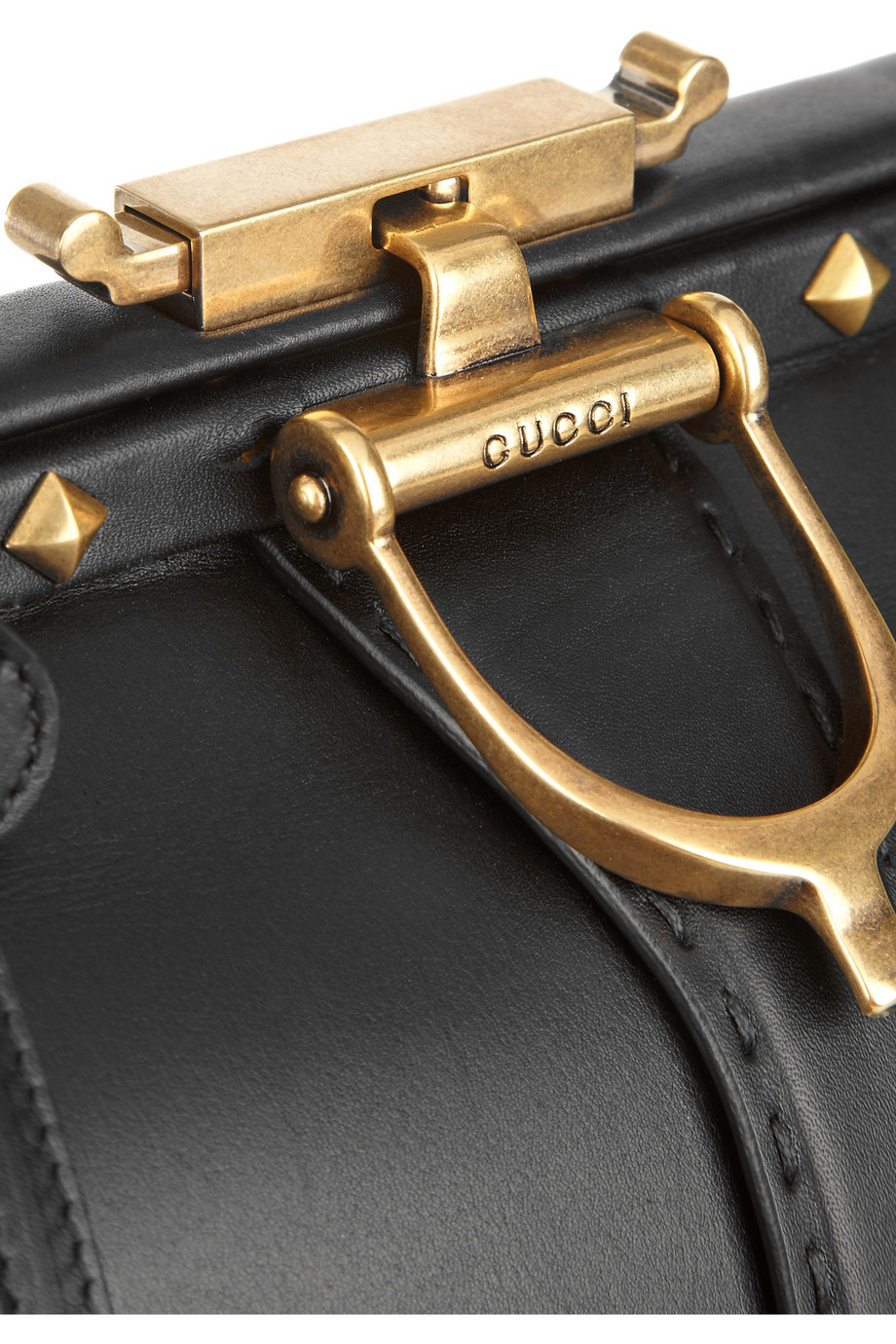 Gucci Lady Stirrup Studded Leather Doctor Bag In Black Lyst