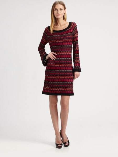 Laundry By Shelli Segal Wave Stitch Sweater Dress in Red ...