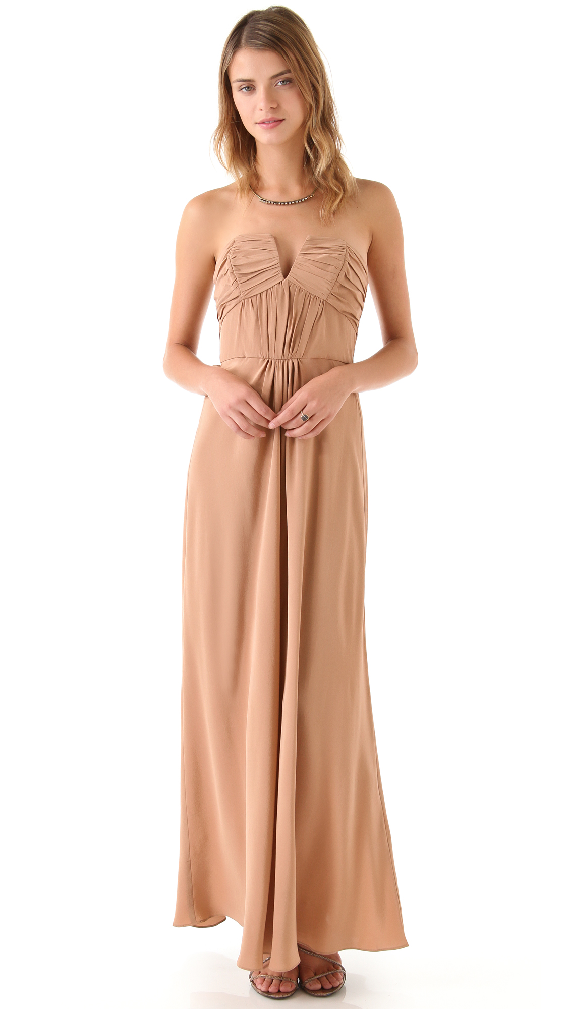 Zimmermann Ruched Strapless Gown in Natural | Lyst